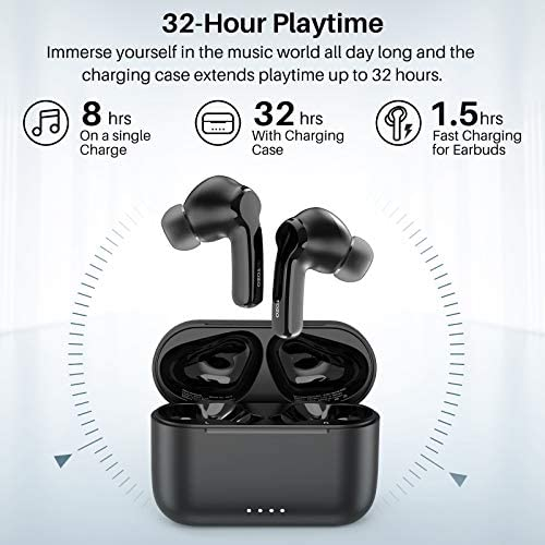 TOZO NC2 Hybrid Active Noise Cancelling Wireless Earbuds, ANC in-Ear Detection Headphones, IPX6 Waterproof Bluetooth 5.2 TWS Stereo Earphones, Immersive Sound Premium Deep Bass Headset, Black