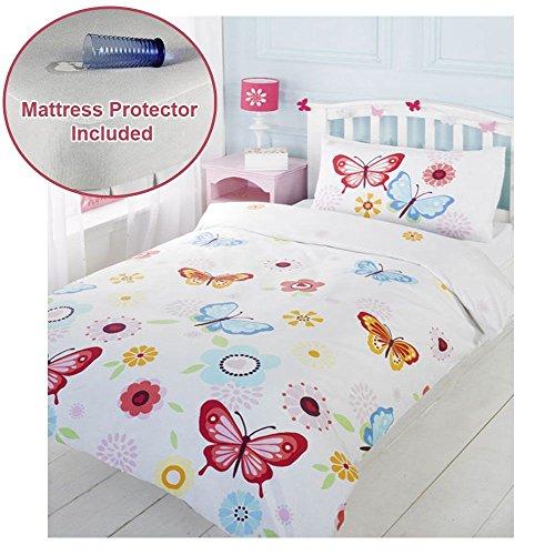Butterfly Junior/Toddler Duvet Cover & Pillowcase Set + Mattress - Bed Set Junior