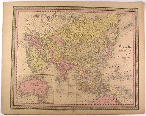 Asia Australia Hindoostan Arabia Persia Malaysia Japan 1850 antique Mitchell map