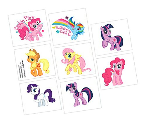 Amscan Charming My Little Pony Friendship Temporary Tattoo Birthday Party Favours Childrens Favor-Sets (12), 192 Piecs -  TradeMart Inc., 399043