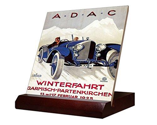 A.D.A.C Vintage Auto Poster Ceramic Tile & Stand 4