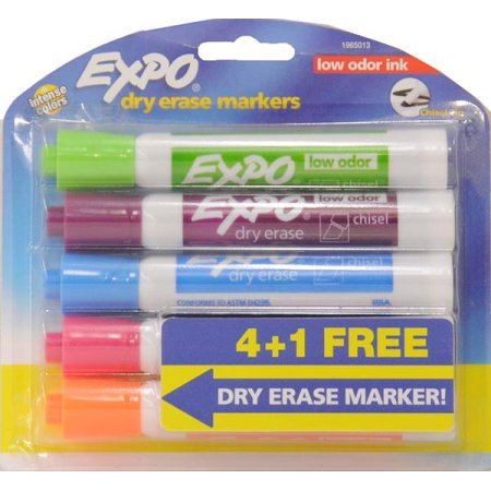 Expo Low Odor Dry Erase Markers, Chisel Tips, Assorted Colors, 4 + 1 Bonus ()