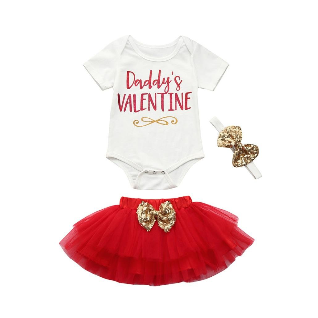 Odeer Daddy's Valentine - Newborn Infant Baby Girl Valentine's Day Outfits Set Romper Tops+Skirt+Headband 3Pcs T-20170905