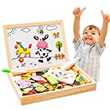 Hisoul Educational Wooden Toys Multifunctional Drawing Writing Board Magnetic Puzzle Double Easel...