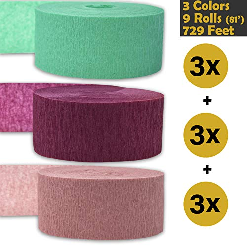 Crepe Party Streamers, 9 rolls, 3 Colors, 739 ft - Seafoam Green + Sangria + English Rose - 243' per color (3 rolls per color, 81 foot each roll) - For party Decorations and Crafts - Flame Resistant, Bleed Resistant, Made in USA