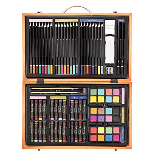Darice 80-Piece Deluxe Art Set – Art Supplies for Drawing, Painting and More in a Compact, Portable Case - Makes a Great Gift for Beginner and Serious -