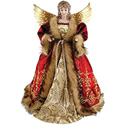 "Santa's Workshop 16"" Red Imperial Angel Christmas Tree Topper"