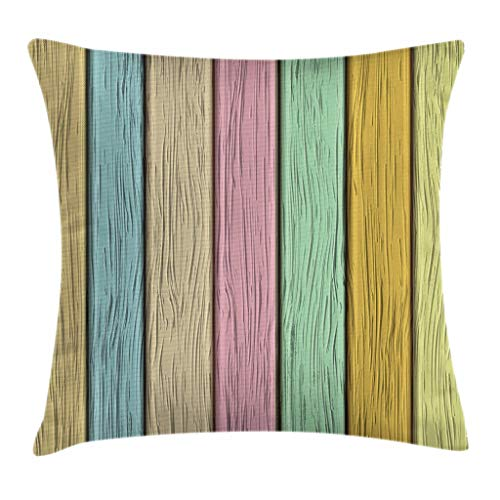 Ambesonne Pastel Throw Pillow Cushion Cover, Colorful Old Wooden Planks Timber Texture Rustic Farmhouse Country Home Decor Print, Decorative Square Accent Pillow Case, 24 X 24 Inches, Multicolor Review