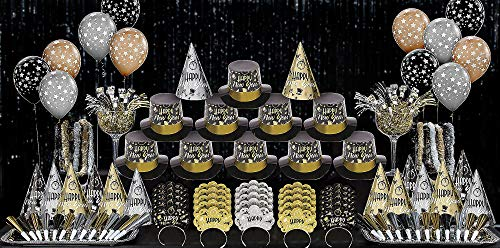 - Party City Black Tie Affair New Year's Kit for 100, Includes Cone and Top Hats, Tiaras, Foil Horns, Leis and Balloons