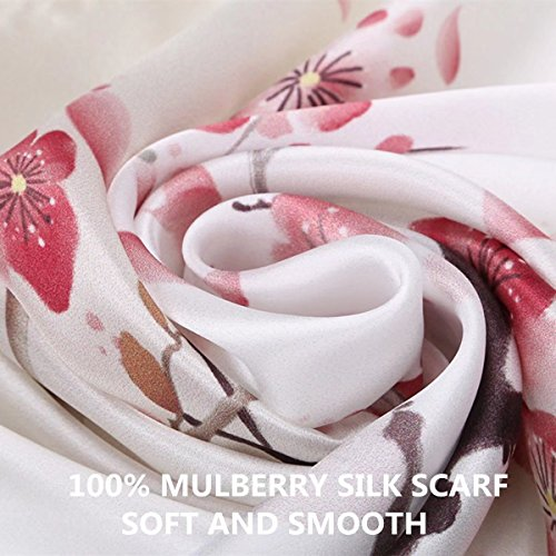 Women's 100% Charmeuse Mulberry Silk Long Scarf For Gift Hair Ladies Shawls Floral And Butterfly Scarf