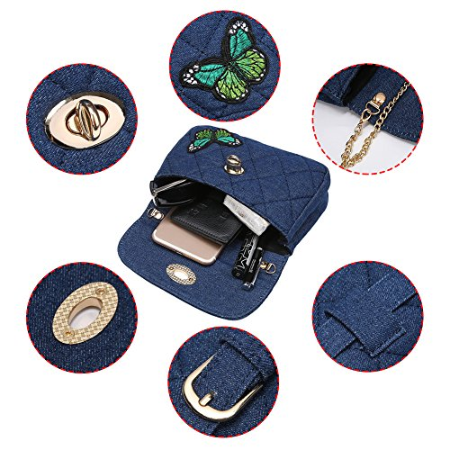 Badiya Quilted Fanny Dark Waist Bag Elegant Butterfly Blue Pack Butterfly Crossbody Denim Women Bag rarqg