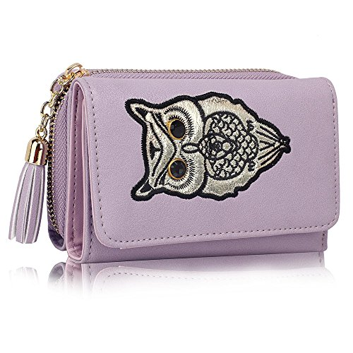 Women 2 For Card Animal Zipped Holder Purses Lavender Small Coin Luxury Owl Wallet Design Ladies Print qCwOSOfE