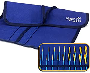 Rigger Art's Large Durable Paint Brush Holder Organizer - Thick Canvas Paintbrush Roll Up Wrap for Artists - 22 Slots Case Protection for Watercolor / Oil Brushes + Zippered Pouch Bag | Dark Navy Blue