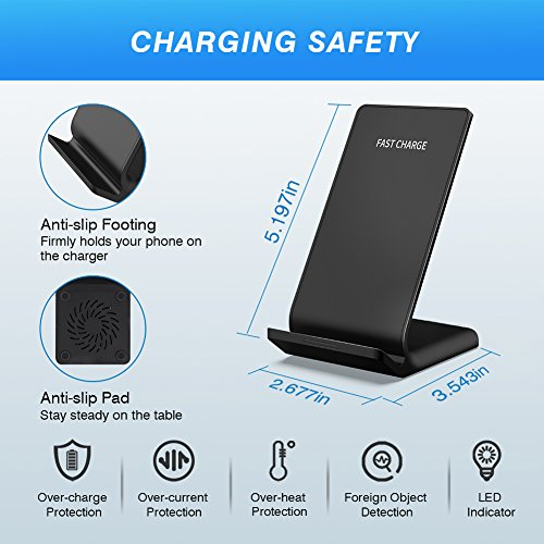 LATOW Wireless Charger, 7.5W Qi Wireless Charger Compatible for iPhone X/8/8 Plus, 10W Fast Wireless Charger Compatible for Galaxy S9/S9+/S8/Note 8/S7/S7 Edge, 5W for QI-Enabled Devices (No Adapter) by LATOW (Image #3)