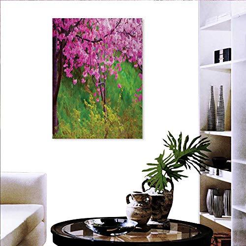 Cuadro de arte japonés para pared, diseño de flor de acuarela japonesa ornamentada inspirado en el medio ambiente,...