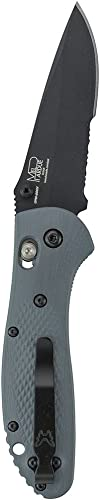 Benchmade – Griptilian 551-1 Knife, Drop-Point Blade, Serrated Edge, Coated Finish, Gray Handle