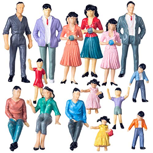 Yamix G Scale People Figures, 40Pcs Model Trains Architectural 1:25 Scale Figures Sitting and Standing People Platform Passengers Miniature Figures