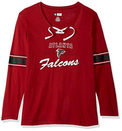 NFL Atlanta Falcons Women L/S JERSEY  V NECK TEE, RED/WHITE, 4X