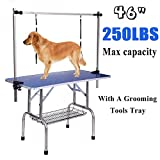 Gelinzon Dog Pet Grooming Table Heavy Duty Foldable with Adjustable Arm and Updated Noose, Maximum Capacity Up to 250 lbs, 36''