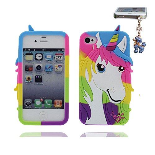 iPhone 4S Hülle, [ flexible durable TPU Einhorn ] rückseitige Handyhülle für iPhone 4, iPhone 4S Case, Anti-Beulen, Fingerabdrücke & Staubstecker