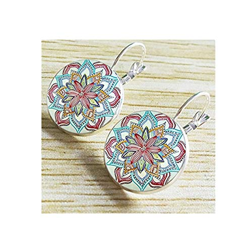Vintage Retro Women Glass Round Flower Ear Stud Pierced Earrings Fashion Jewelry (Silver)