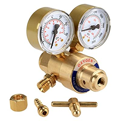 Gracelove New Rear Mount Oxygen Gas Welding Welder Brass Regulator Pressure Gauge
