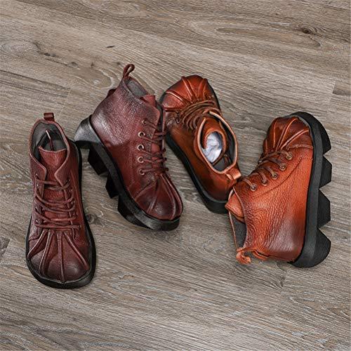 Xzxz Botas Para Mujer Botines Botines De Cuero Grueso Con Suela Gruesa Botas Individuales Botas De Moda Zapatos De Fondo Plano Botas Regulares 35 40marron35