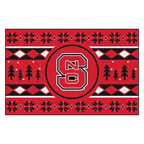 Fanmats NCAA Holiday Sweater Starter Rug, NC State, 19