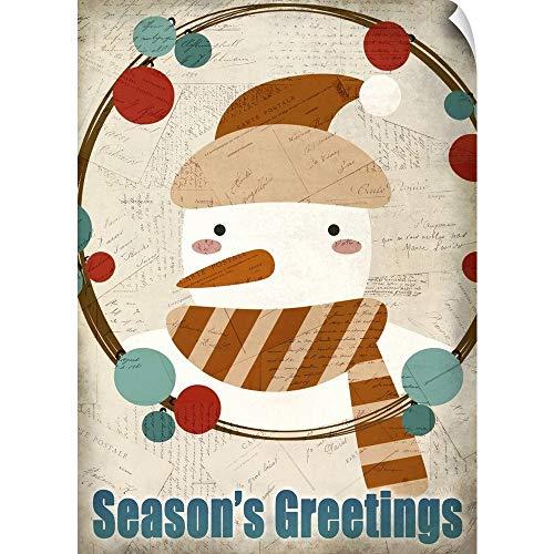 (CANVAS ON DEMAND Seasons Greetings Snowman Wall Peel Art Print, 35