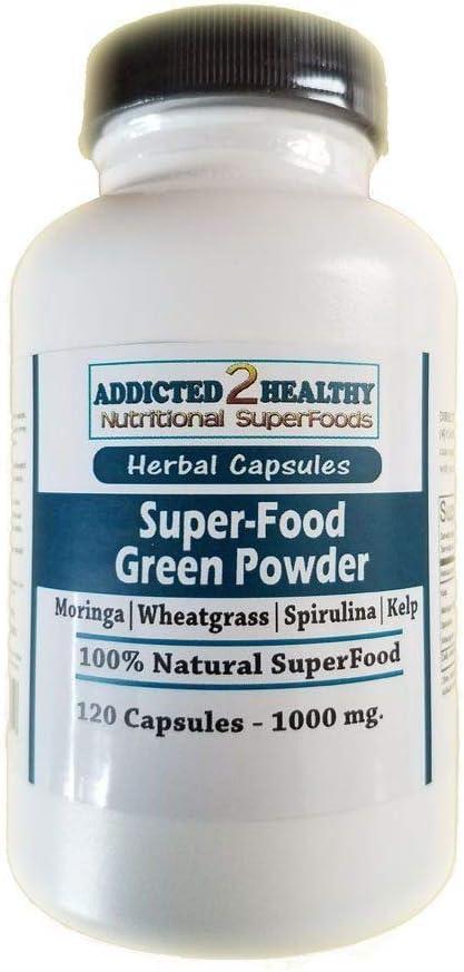 120 SuperFood Green Powder Capsules - Moringa + Spirulina + Kelp + Wheatgrass • Stop OVERPAYING for Health!!!