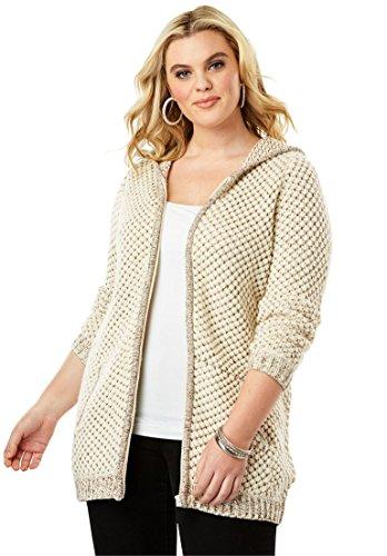 Roamans Womens Plus Size Tweed Thermal Hoodie Cardigan