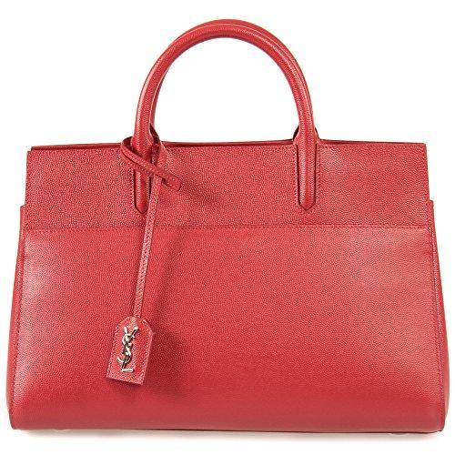 (Saint Laurent Women's Cabas Rive Gauche Bag, Red, Small)