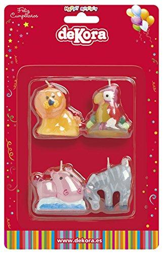 dekora 345211 Vela de Cumpleaños de Animales-4 Unidades ...