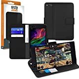 Razer Phone Wallet Case, Orzly Multi-Function Wallet Case for the Razer Phone Gaming SmartPhone (2017 Android Model) - BLACK Protective Cover with Card Pockets & Integrated Display Stand