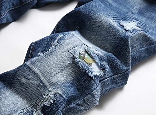 517L8GMGy6L. AC AITITIA Men's Biker Zipper Deco Washed Straight Fit Jeans    Product Description