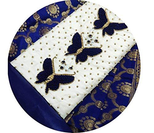 Perfect Wear Women's Banarasi Jacqaurd Silk woven Embroidery Work Cotton Dupatta Salwar Suit Dress Material Unstitched Fabric (Free Size)