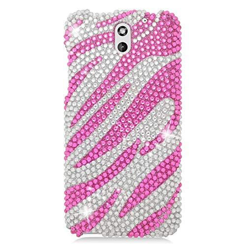 Insten Zebra Rhinestone Diamond Bling Hard Snap-in Case Cover Compatible with HTC Desire 610/612 Verizon, Hot Pink/Silver