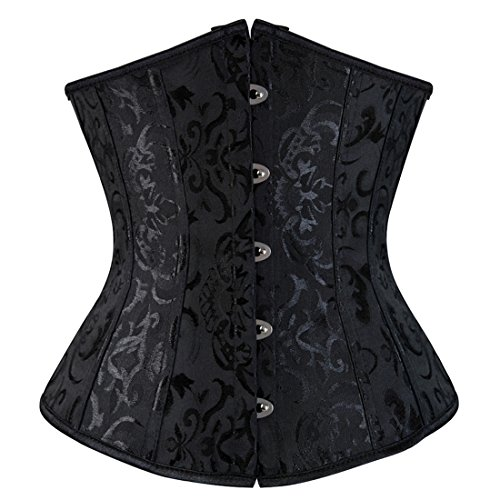 Zhitunemi Women's Lace Up Boned Jacquard Brocade Waist Training Underbust Corset Large Black