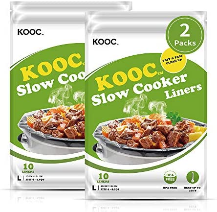 [NEW]KOOC Premium Slow Cooker Liners and Cooking Bags, Large Size Fits 4QT to 8.5QT Crock Pot, 13″x 21″ , 2 Packs (20 Counts), Equipped with Fresh Locking Seal Design, Suitable for Oval & Round Pot, BPA Free