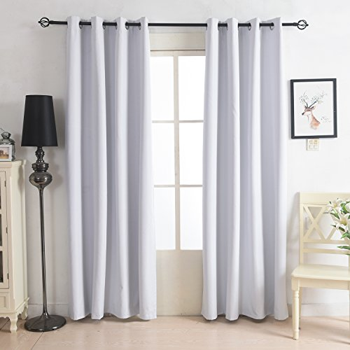 KindoBest White Sleep Well Thermal Insulated Window Blackout Curtain Solid Color Oxford Gromment Panel (One Panel) for Bedroom(52W×95L inch) (Pottery Barn Double Rod)