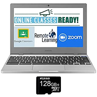 2020 Samsung Chromebook 4+ 15.6 Inch FHD 1080P Laptop, Intel Celeron N4000 up to 2.6 GHz, 4GB LPDDR4 RAM, 32GB eMMC, WiFi, Webcam, Chrome OS + NexiGo 128GB MicroSD Card Bundle