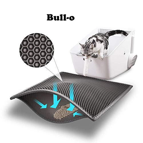 "Bull-o Cat Litter Mat Litter Trapper Size 24"" X 15"", Honeycomb Double-Layer Design Waterproof Urine Proof Material, 2…"