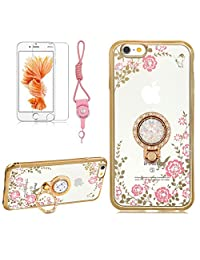 iPhone X Case,Girlyard Crystal [Pink Flower Butterfly] Glitter Sparkle Case Soft Silicone TPU Gold Bumper Ultra Thin Back Cover with 360 Degree Rhinestone Ring Protective Cover for iPhone X