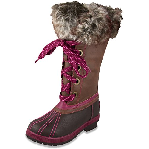London Fog Girls Melton Cold Weather Snow Boot BR/PK Size (Ugh Boots Kids)
