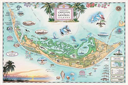 Northwest Art Mall Captiva Sanibel Islands, Florida Hand-Drawn, Antique-Style Map Metal Print (12