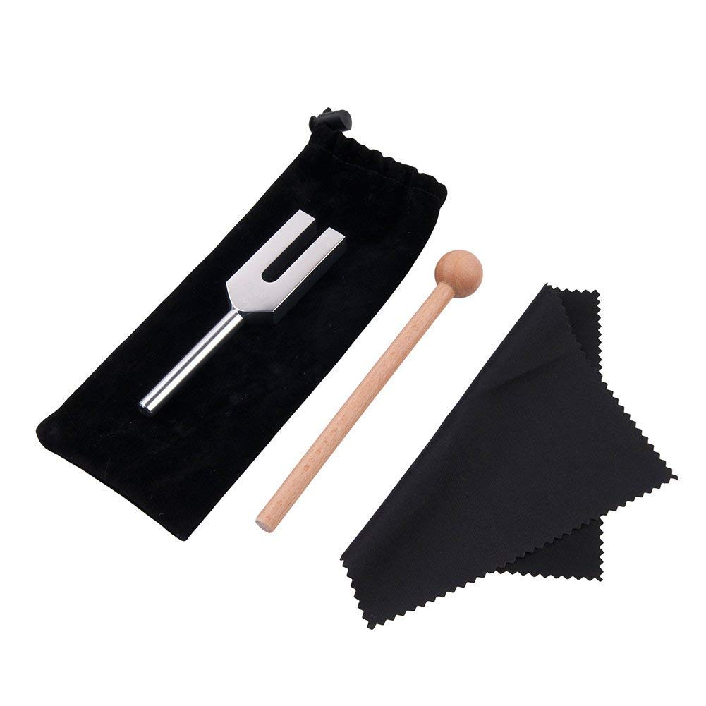QIYUN Tuning Fork, 528 Hz Tuning Fork with Silicone Hammer and Cleaning Cloth Solfeggio Tuning Fork for DNA Repair Healing and Perfect Healing Musical Instrument 528c