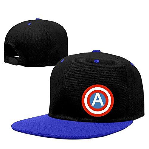 Custom Unisex-Adult American Shield Snapback Baseball Visor Cap RoyalBlue ()
