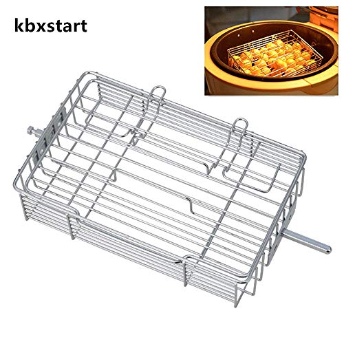 kbxstart Adjustable Rotisserie Basket,Non-Stick Flat Spit Rotisserie Grill Basket Steak Cage for Air Fryer 10.9×5.39×0.2inch