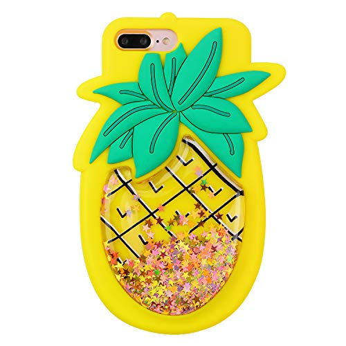 Quicksand Pineapple Case for iPhone 6 Plus/6S Plus,Soft Cute Silicone 3D Cartoon Fruit Food Cover,Shockproof Vivid Color Kids Girls Boys Bling Glitter Rubber Kawaii Character Cases for iPhone 6Plus + ()