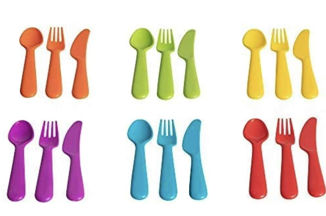 Klickpick Home Plastic Toddler Utensils 18 Pcs Set 6 Kids Forks and 6 Kids Spoons 6 Kids Knives - BPA Free/Dishwasher Safe Toddler Silverware Brightly Colored Kid Plastic Cutlery Set, Great for Kids